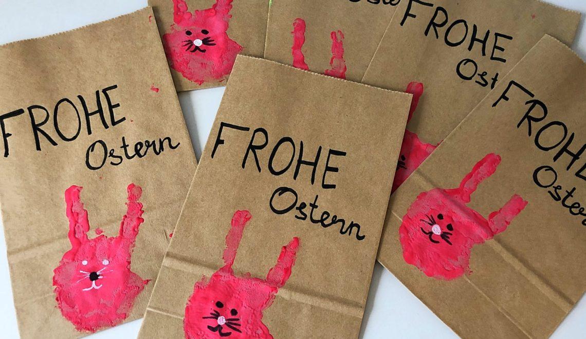 Geschenkverpackung für Ostern mit Handabdruck basteln