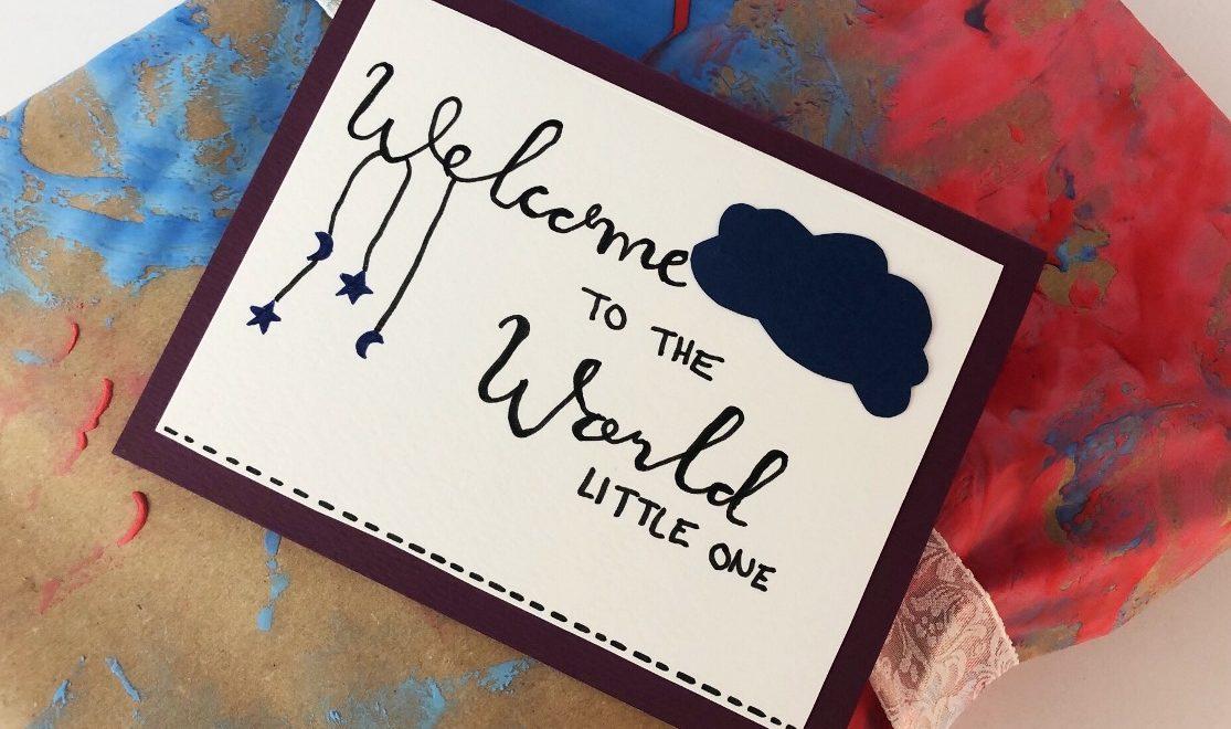 "Karte Geburt ""Welcome to the world"" basteln"