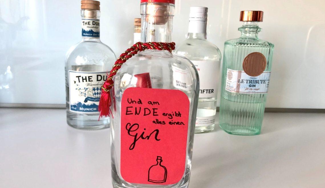 Geldgeschenk in Gin-Flasche verpacken