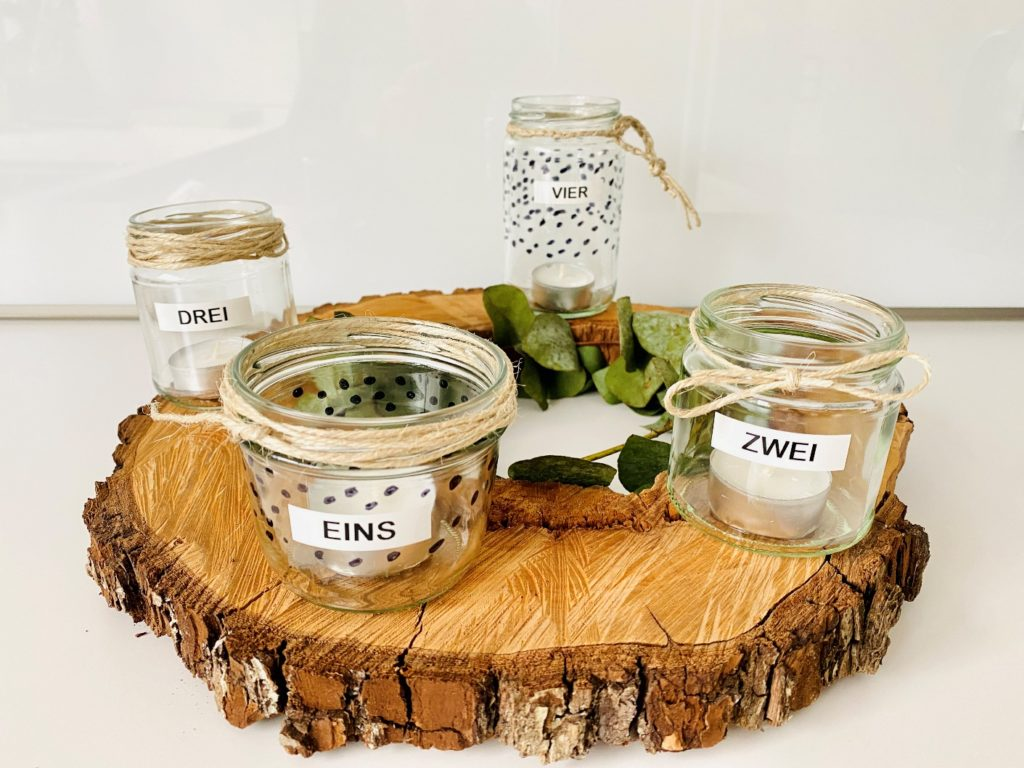 Adventskranz 5 1024x768 - DIY Adventskranz - Upcycling aus Altglas