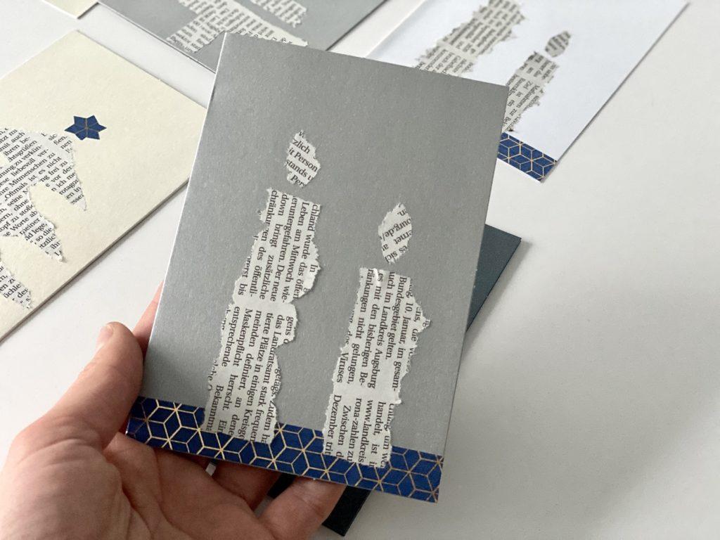 Schnelle Weihnachtskarten Zeitungspapier 2 1024x768 - Schnelle Weihnachtskarten mit Zeitungspapier basteln