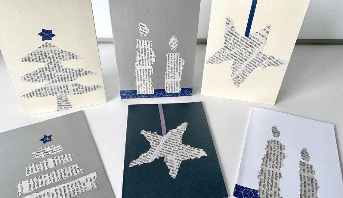 Schnelle Weihnachtskarten mit Zeitungspapier basteln