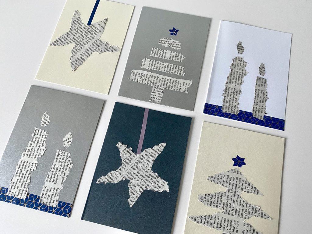 Schnelle Weihnachtskarten Zeitungspapier 5 1024x768 - Schnelle Weihnachtskarten mit Zeitungspapier basteln