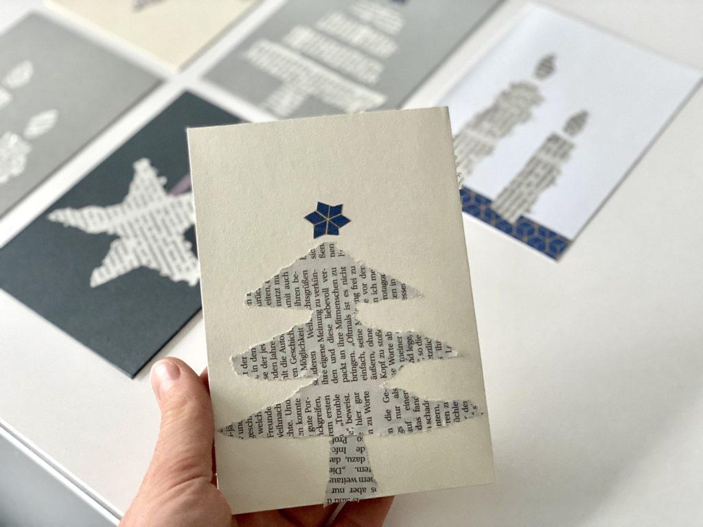 Schnelle Weihnachtskarten Zeitungspapier 6 1024x768 - Schnelle Weihnachtskarten mit Zeitungspapier basteln