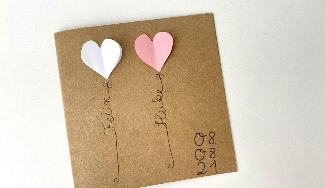 Hochzeitskarte mit Herzen basteln